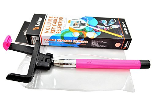 ITN Supplies2点セット 選べる5色  kjstar 正規品 直輸入 Z07-07 セルフィー セルカ棒 自分撮り スティック  Bluetooth 不要で安心 簡単接続 iphone6 Plus 対応 イベント レジャー 旅行に オリジナル 防水ポーチセット棒カラー ピンク