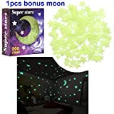 RONKY Glowing in the Dark Stars Sticker, Fluorescent Stars for Ceiling, Luminous Stars Wall Stickers Decals for Kids Bedding Room and Party Decoration,200PCS Stars and 1PCS Bonus Moon (Color: Green)