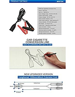 BESTEK® Cigarette Lighter Plug Extension Cord (Black)