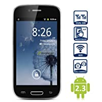 Unlocked Quadband 2 sim card with Android 2.3 OS (Android 4.1 UI) Smart Phone 4.0 Inch Capacitive Touch Screen T-mobile Simple mobile (Black) from Newcay