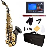 Mendini by Cecilio MSS-CSBNG+92D Black Nickel Plated and Gold Keys Curved B Flat Soprano Saxophone with Tuner, Case, Mouthpiece, 10 Reeds and More