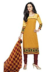 RK Fashion Womens Cotton Un-Stitched Salwar Suit Dupatta Material ( Rajguru-Ganpati-5007-Yellow-Free Size )