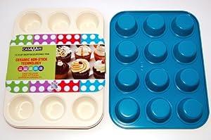 casaWare Ceramic Coated NonStick 12 Cup Muffin Pan (Cream Blue) by casaWare