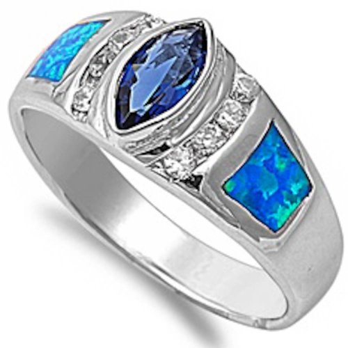 Elegant Blue Simulated Sapphire, Lab Created Blue Opal & Cz .925 Sterling Silver Ring Size 9
