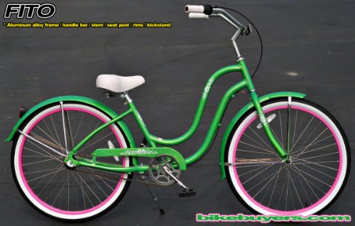 Aluminum Frame, Fito Verona Alloy Shimano 3-speed women's Apple Green Beach Cruiser Bike Bicycle Micargi Schwinn Firmstrong Nirve Style