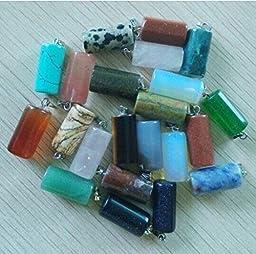 Fashion Natural Gemstones Mixed Cylinder Charms Pendants 50Pcs