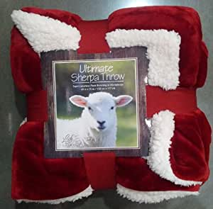 Ultimate Sherpa Reversible Throw / Super Luxurious Plush Blanket Reversing to Microsherpa Christmas Red -Ivory