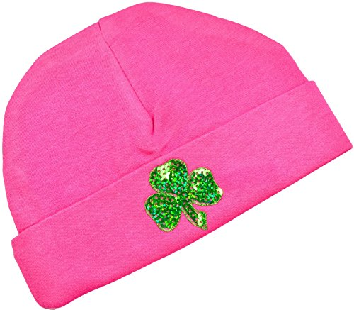 Sequin Shamrock Baby Beanie Hat Irish Pride Baby Hat Funny Girl Designs