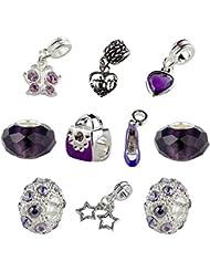 Set Of 10 Purple Mother Charms & Beads, Mom Charm, Heart Charm, Shoe Charm, Purse Charm, Butterfly Charm