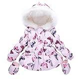 LUKYCILD Baby Girl Butterfly Pattern Outwear Winter Warm Hoodie Down Jacket Coat