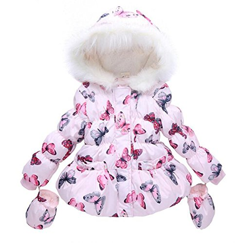 LUKYCILD Baby Girl Butterfly Pattern Outwear Winter Warm Hoodie Down Jacket Coat
