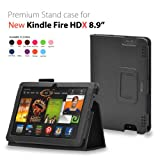 CaseGuru Amazon Kindle Fire HDX 8.9 inch Leather Case Cover and Flip Stand Wallet Plus Capacitive Stylus Pen (Black)