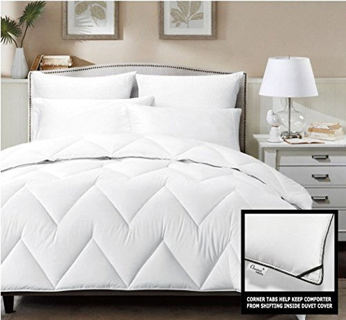 For Sale! Chezmoi Collection Chevron White Down Alternative Comforter, Queen, Charcoal Border