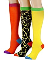 Tipi Toe Women's 3-Pack Colorful Animal Knee High Socks