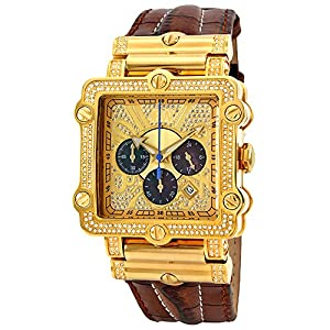 "JBW Men's JB-6215-238-A ""Phantom"" Brown Diamond And Gold Bezel Leather Band Watch"