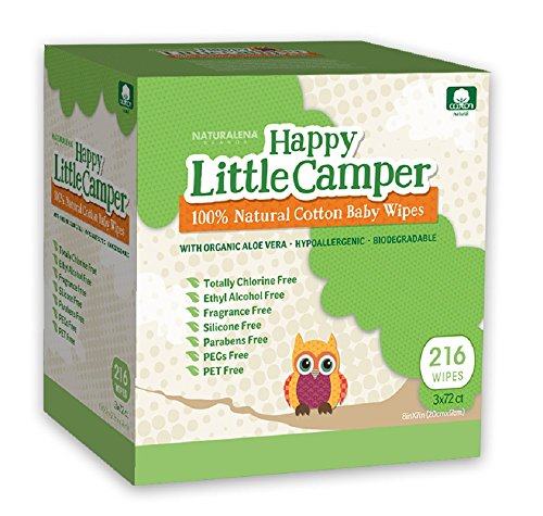 Happy Little Camper Natural Cotton Baby Wipes, 216 Count