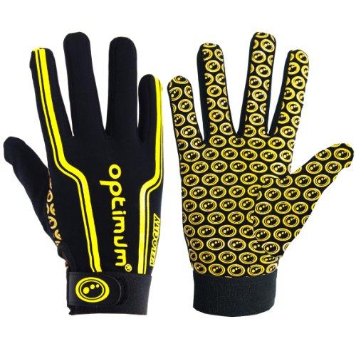 Optimum Boy's Velocity Full Finger Glove - Black/Yellow, Mini