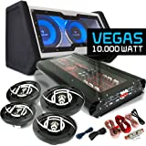 Auna Vegas 4.1 Car Hifi Set inkl. 10 000Wmax. 6-Kanal Verstärker, 2x Doppel Subwoofer mit Lichteffekt, 2x Paar Lautsprecher, Cablekit