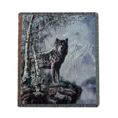 Timber Wolf Tapestry Throw front-1017275