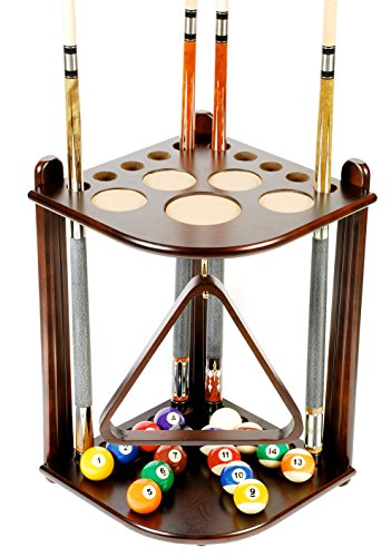 Lowest Price! Iszy Billiards 10 Cue Stick and Pool Table Ball Floor Rack, Mahogany