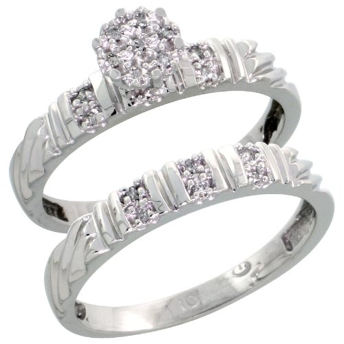 10k White Gold Diamond Engagement Ring Set 2-Piece 0.09 cttw Brilliant Cut, 1/8 inch 3.5mm wide, Size 8