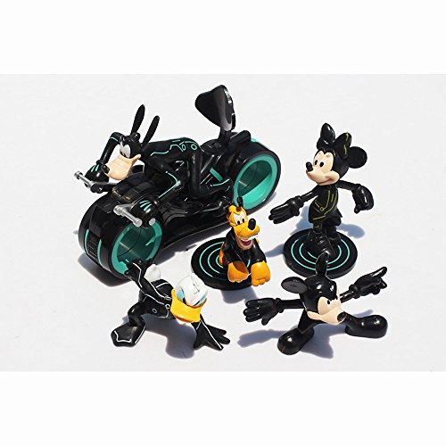 6pcs/lot Mini figures toy Mickey Mouse/ Minnie Mouse/ Donald Duck/ Goofy dog/ Pluto dog /Tron Legacy motor