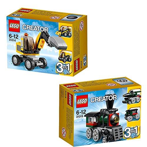 LEGO Creator 2-teiliges Set 31014 31015 3-in-1 Power-Bagger + 3-in-1 Lokomotive