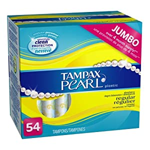 Tampax Pearl Plastic Regular Absorbency, Unscented Tampons, 54-Count Boxes