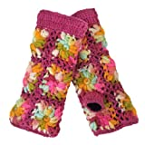 Nirvanna Designs MT13F ML Multi Color Flower Crochet Hand Warmers