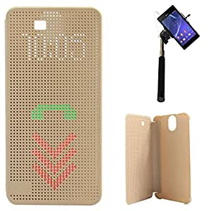 DMG Dot View Interactive Flip Cover Case for HTC One E9 Plus (Gold) + Selfie Stick Monopod with Aux (No Battery Needed)