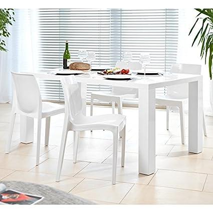 SalesFever Essgruppe Tisch 180x90cm mit 6 Design Stuhlen Luke weiß matt Sari