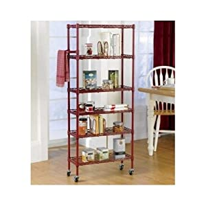 rolling kitchen 6 shelf pantry rack red 56