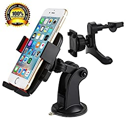 Car Mount, YUNSONG(TM) Super 3 in 1 Universal Adjustable Air Vent/ Windshield Car Phone Mount Holder Cradle for iPhone, Samsung & Other Smartphones- One Year Warranty