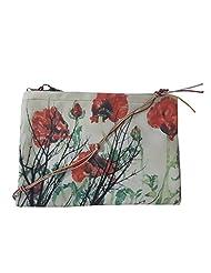 Leaf Designs Red & Black Floral Sling Bag