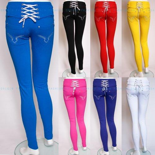Origin Fashion Womens Girls Lace Up Designer Skinny Cigarette Trousers Jeans Jeggings Black Red Purple Blue Pink Uk Size 8 10 12 14 16