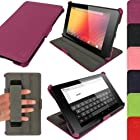 iGadgitz Purple Leather Case Cover for New Google Nexus 7 FHD Android Tablet 16GB 32GB 4G LTE 2013 Model 2nd Gen Generation (released Aug 2013). With Sleep/Wake Function, Integrated Hand Strap + Screen Protector