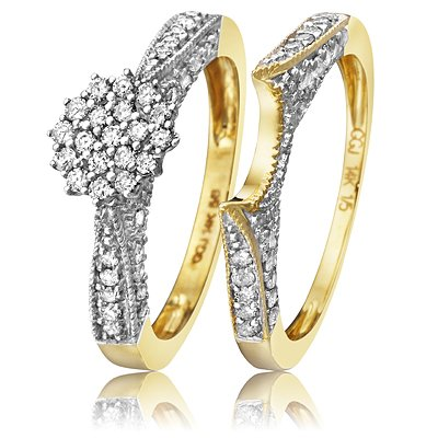 1/2 CT. T.W. Round Cut Diamond Women's Bridal Wedding Ring Set 10K Yellow Gold - Two Rings: Ladies Engagement Ring and Ladies Wedding Band - Free Gift Box - Size 10