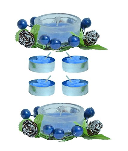 Kriti Creations Unsented Designer Glass With Tea Light Candle - B015XOOC4M