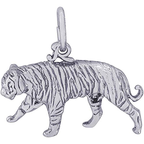 Rembrandt Charms Tiger Charm, Sterling Silver