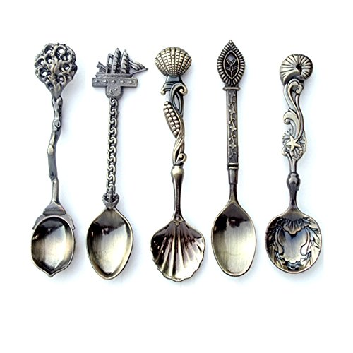 YIJIA Nostalgic vintage royal style bronze carved eco-friendly small coffee spoon and small fork for sweet snacks ...