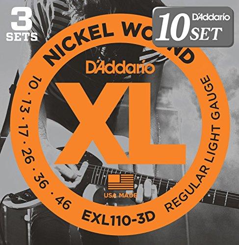 D'Addario ダダリオ エレキギター弦 ニッケル Regular Light .010-.046 EXL110-3D 3set入りパック x 10セット 【国内正規品】