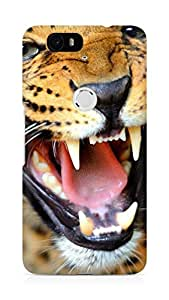 Amez designer printed 3d premium high quality back case cover for Huawei Nexus 6P (Crazy angry leopard)