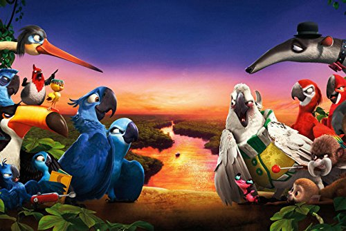 Fit You Rio 2 Canvas Wall Poster Hot Movie Pictures For Gift Children Bedroom Decor Lovely Cartoon Poster Birds 4