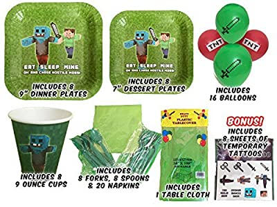 Tableware for Mining Themed Parties (Service for 8) - Party Supplies Includes Plates, Cups, Forks, Spoons, Napkins, Balloons, Table Cloth, 8 BONUS Miner Kid's Tattoo Packs!