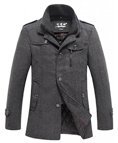 Top-Ec Men'S Wool Winter Pea Coat Dark Grey Medium