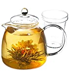 GROSCHE Munich 42 oz. Glass Infuser Teapot with included tea infuser, 1250 ml (42 fl oz) capcity