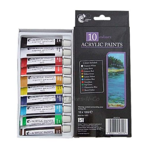 10 Colours Acrylic Paints Kc4371a 5050375048096 By Chiltern Arts