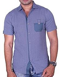 Equipoise Men's Cotton Casual Shirt (EQ-05 L/42_Blue_L )