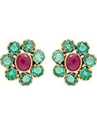 Gehna 18k Yellow Gold And Emerald Stud Earrings