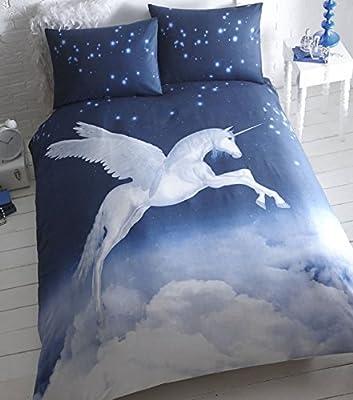 Unicorn Quilt Duvet Cover Set Black White